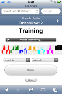 Training webapp records accelerometer data, graphs and uploads it